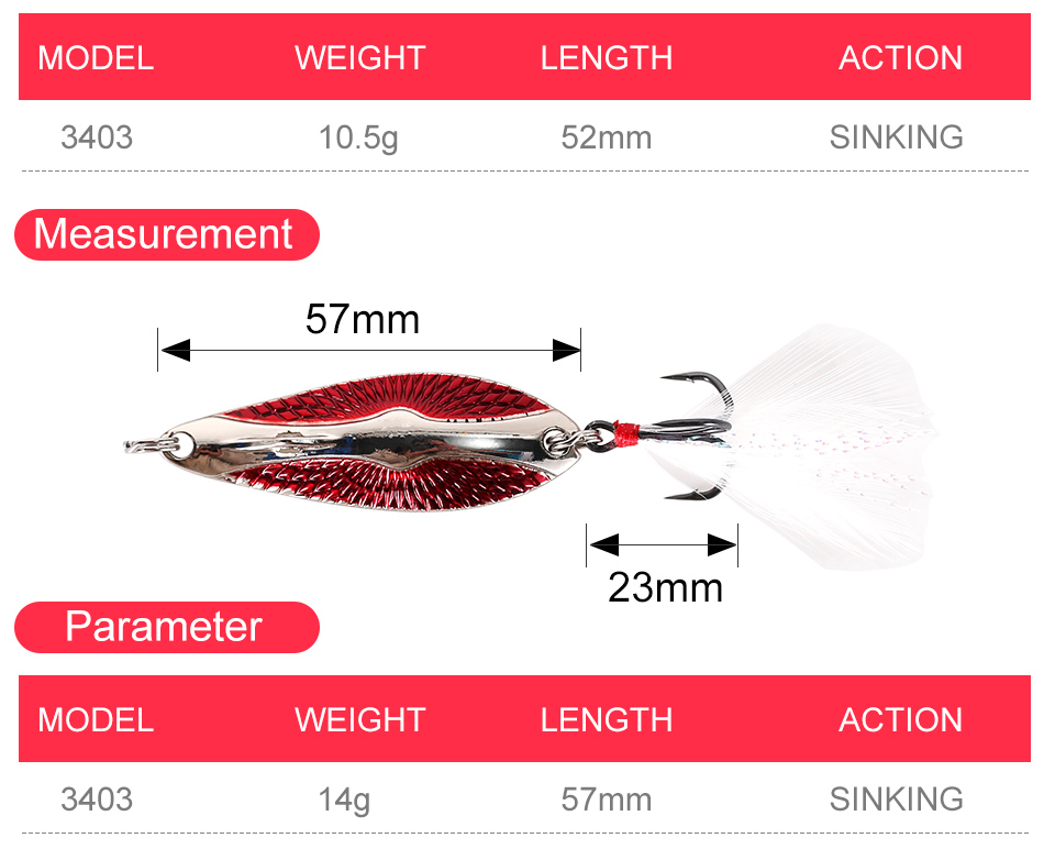 Kingdom Metal Lure Spinner Spoon Fishing Lures Hard Baits 1PC Full Aqueous Layer Metal Material With Feather Hook Fishing Tackle (4)