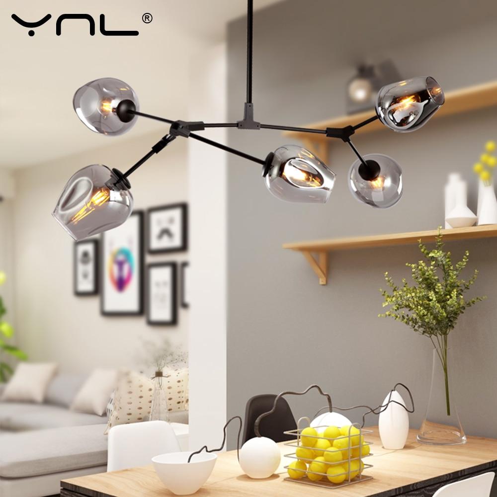 4Color Glass Nordic Modern Pendant Lights Art Decoration Hanglamp Black Gold Body Lampadari Pendant Hanging Lamp For Living Room
