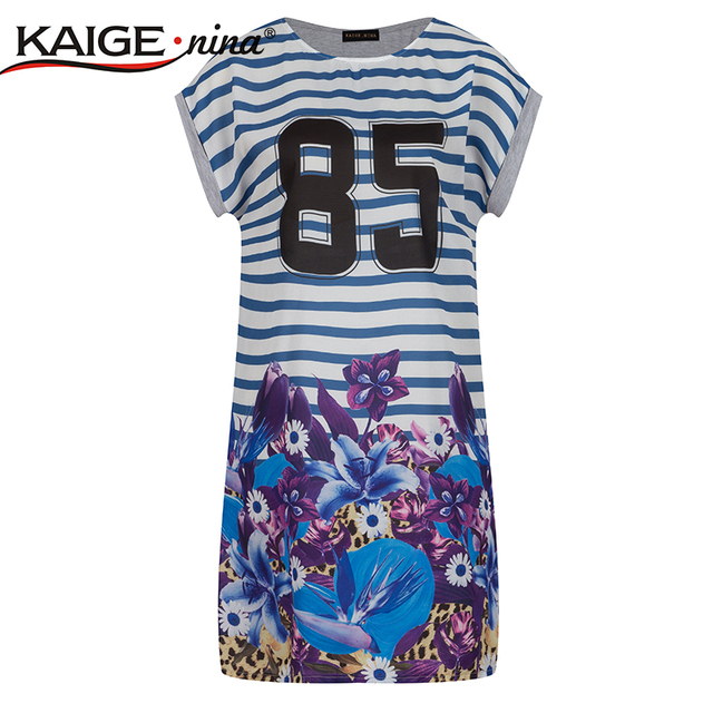 ddec940f63e0 Summer Style Casual Dress t-shirt dress Plus Size Women's Clothing Tropical  Floral Print 100% Cotton t-shirt dress vestidos 2122