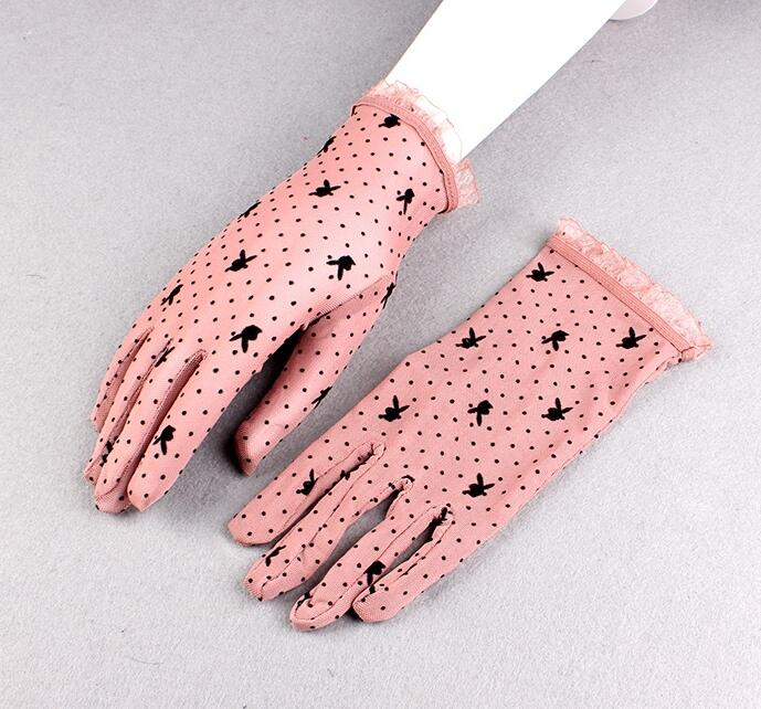 Women's Spring Summer Sunscreen Dot Print Mesh Gloves Female Uv Protection Breathable Sexy Perspective Lace Driving Glove R1134