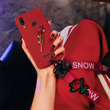 rose Lanyard phone case For Huawei Honor 10 8C 7C 7A Pro 6A 6X 8X 8 P8 P9 Lite 2017 P10 P Smart Plus Lite Nova 3 3i 2 2i P20 Pro