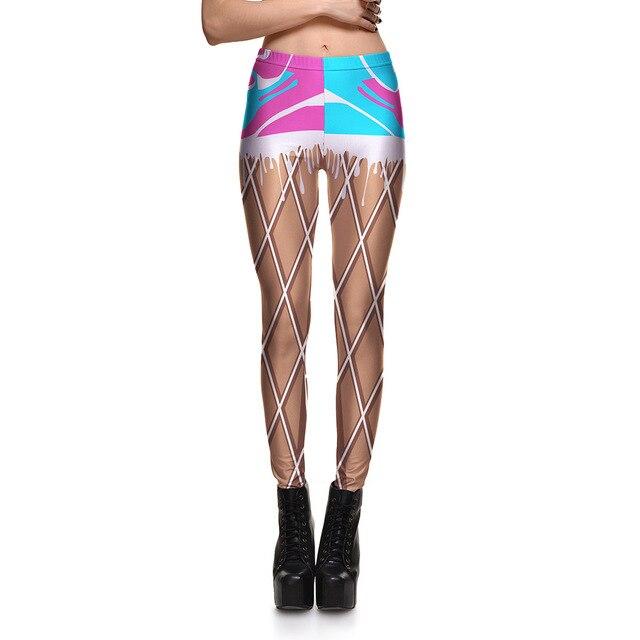 0bc05399 JIGERJOGER 2017 lady Brown mesh Printed Leggings girls sweatpants quick  drying 3d digital printing jeggings factory direct sale