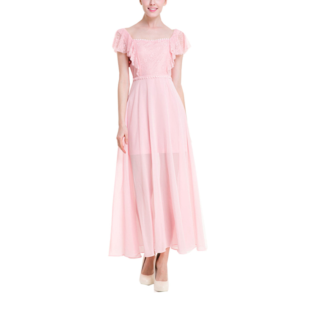 Ruffled collar bridesmaid dresses promotion shop for promotional women summer vintage ruffles cute pink lace crochet chiffon bridesmaids elegant party flared pleated long dress ombrellifo Images
