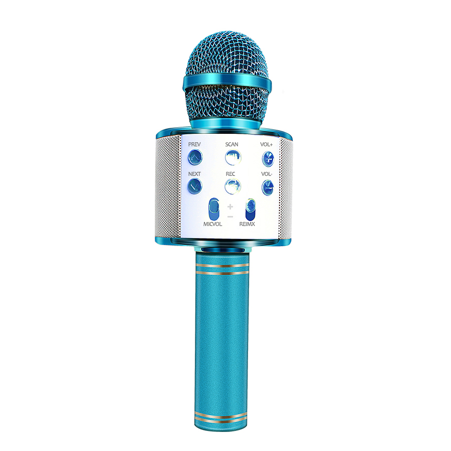 WS-858 Bluetooth Wireless Microphone Handheld Karaoke Mic USB Mini Home KTV For Music Playing Singing Speaker Player