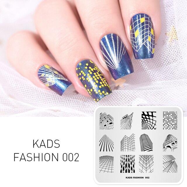 KADS de moda nueva llegada 002 diseño de la serie rascacielos forma del edificio sello clavo Placa de Arte de uñas decoraciones polaco sello