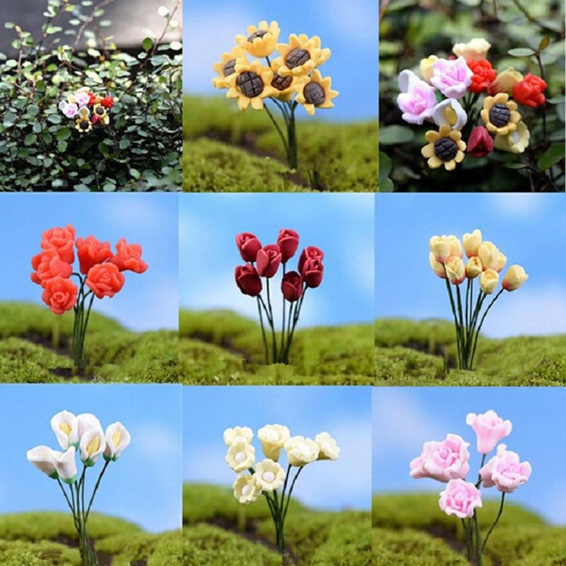1 Pcs Mini Flower Miniature Accessories Sunflower Rose Flower Decoration Mini Craft Micro Landscaping Fairy Garden Supplies