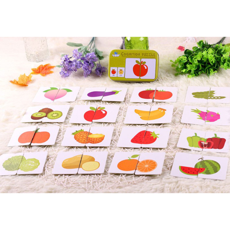 Baby Toys Infant Early Head Start Training Puzzle Cognitive Card Vehicl/fruit/animal/life Set Pair Puzzle For Baby Gift Home
