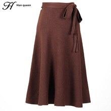 H han rainha outono inverno saia das mulheres elegante chique tricô vintage saia plissada moda magro rendas até cintura alta saias midi