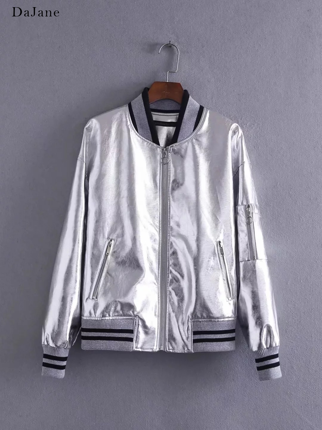 Autumn New women's Bright Silver   Leather   Zhang Bichen With Jacket Jacket   Leather   Jacket Women