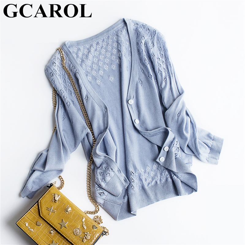 GCAROL New Spring Fall Ice Silk Short Cardigan V Neck Half Sleeve Single Breasted Soft Handle Hollow Out Knitted Sweater S-2XL