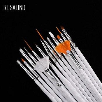 ROSALIND 15PCSset  Nail Tools Nail Brush Dotting Painting Drawing Pen Nail Art Brush Gel Polish Brushes Tools Gel Painting Pen artificial nails
