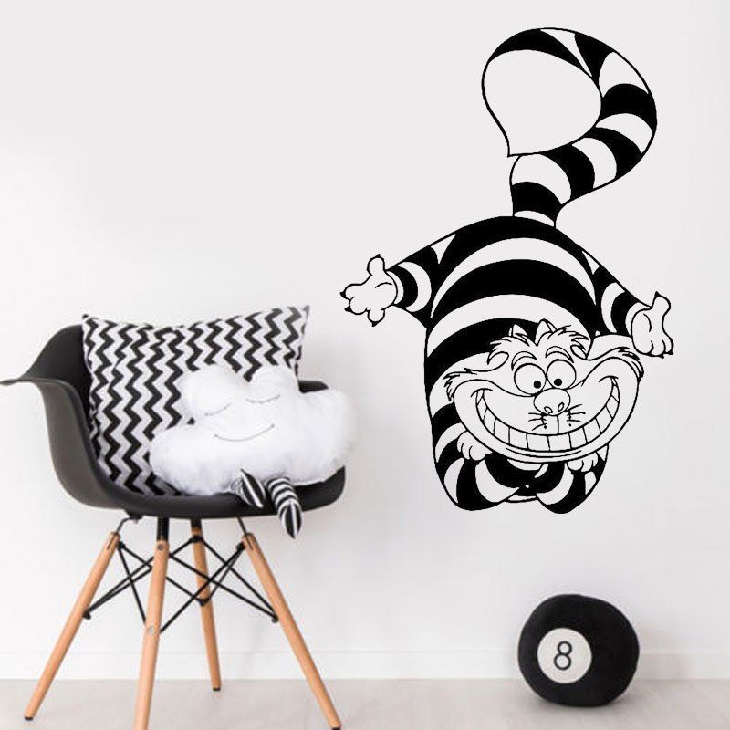 Cartoon animation cat Alice vinyl wall decal girl boy child bedroom kindergarten  art deco mural ER65-in Wall Stickers from Home & Garden