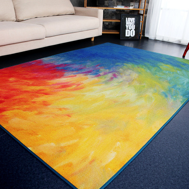 moderne abstrait art grand tapis canap lit ct zone tapis salon chambre salon arc en - Grand Tapis