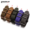 For NATO ZULU Genuine Leather Watchband Strap High Quality Military Watch 20mm 22mm 24mm 26mm Brush stainless steel Buckle rings