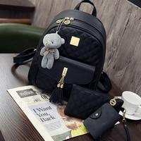 New Arrival 3pcs Set Small Bear Pendant Girls Schoolbag PU Tassel Women Backpack Double Zipper Women