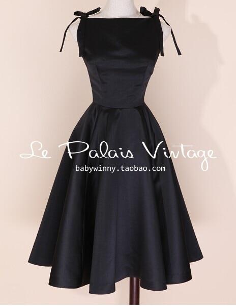 b623ee46e3ee9a Le Palais Vintage Elegante Retro Klassieke Hepburn Zijde Hoge Taille Puff  Zwarte Vestido Vrouwen Jurk in Le Palais Vintage Elegante Retro Klassieke  Hepburn ...