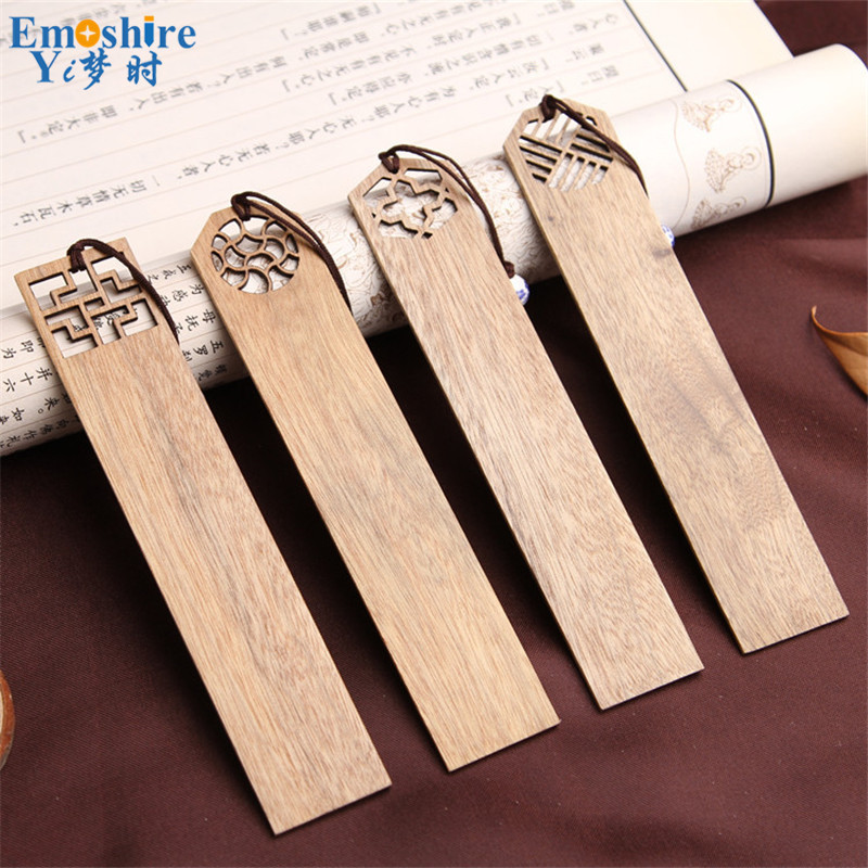 High-grade Solid Wood Bookmarks Set Chinese Style Retro Vintage Book Marks for Business Gift Top Quality Stationery M003