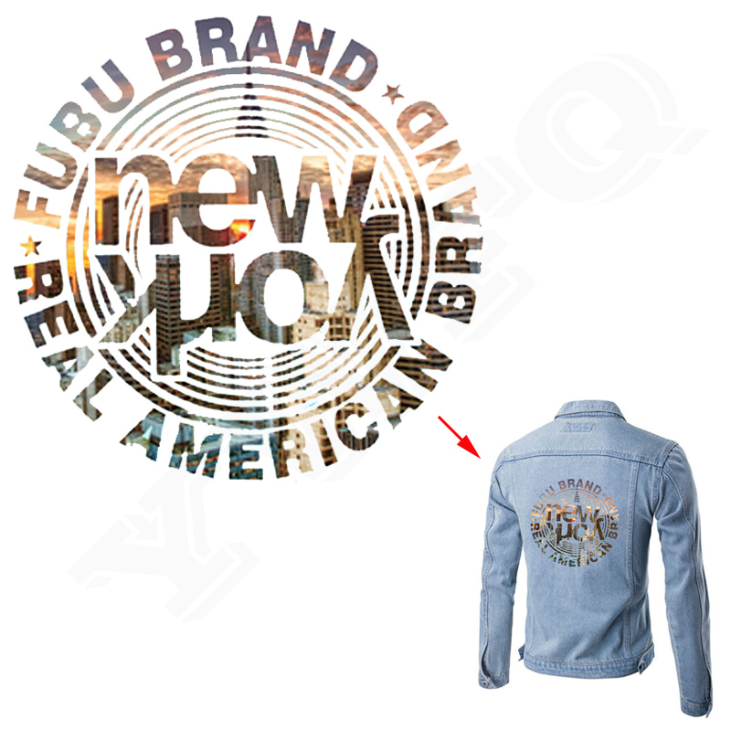 NEW York Iron On Patch 20*20cm Heat Transfer Decoration Print On Jeans Coat A-level Washable Stickers For Clothing