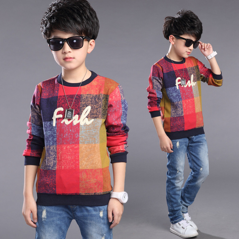 Casual Children Sweatshirt Cotton Baby Boys Mixcolor Plaid Sweatshirt Girls Spring Autumn Coat Sweatshirt for Kids Tops