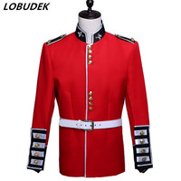 England style Male Court Military uniform Sparkly Crystals Red Suit Drum corps orchestra Performance clothes singer Chorus Suits