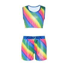 Раздельный гимнастический костюм для девочек, костюм радужного цвета, одежда для занятий балетом, костюм со штанами для танцев
