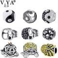 V YA Fashion DIY Crystal Beads Charms fit for Pandora Necklaces Bracelets Women's Men's Skull Jewelry