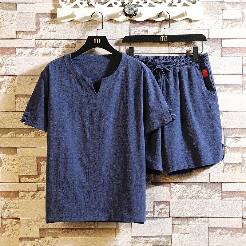 #3423 sommer Zwei Stück Set Top Und Hosen Baumwolle Leinen Casual Lose T Shirt Und Shorts Mann Kleidung Set - 4