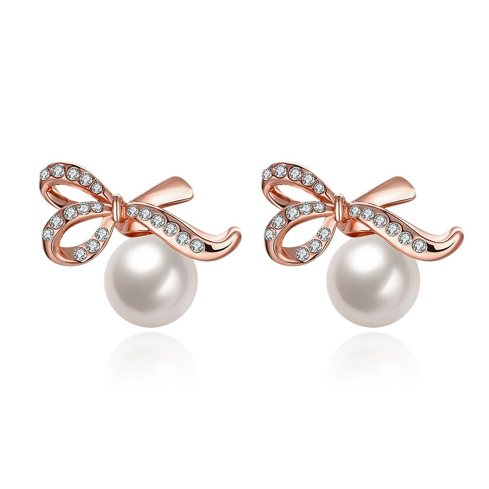 Women's Ladies Rose Gold Color Earrings Zircon Pearl Bow Ear Stud Jewelry  Wholesale And Free Shipping