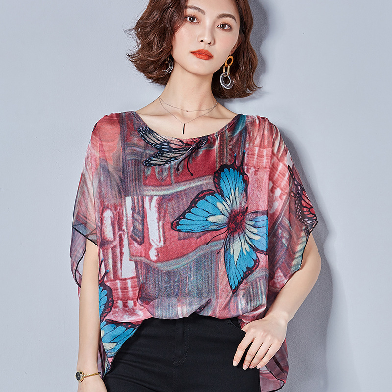 Women Butterfly Blouses Sexy Short Sleeve Shirts Print Floral Loose Top Blouse Summer Fashion Shirt Female Casual Tops Blouses