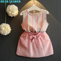 Bear Leader Girls Dress 2017 Brand Princess Dress for Kids Clothes Striped Sleeveless+Bow Dress 2Pcs for Girls Clothes 3-7Y