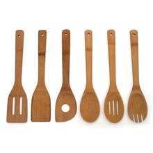 Высокое качество 6 шт. бамбуковая ложка лопатка для перемешивания набор посуды кухонный Деревянный инструмент для приготовления пищи