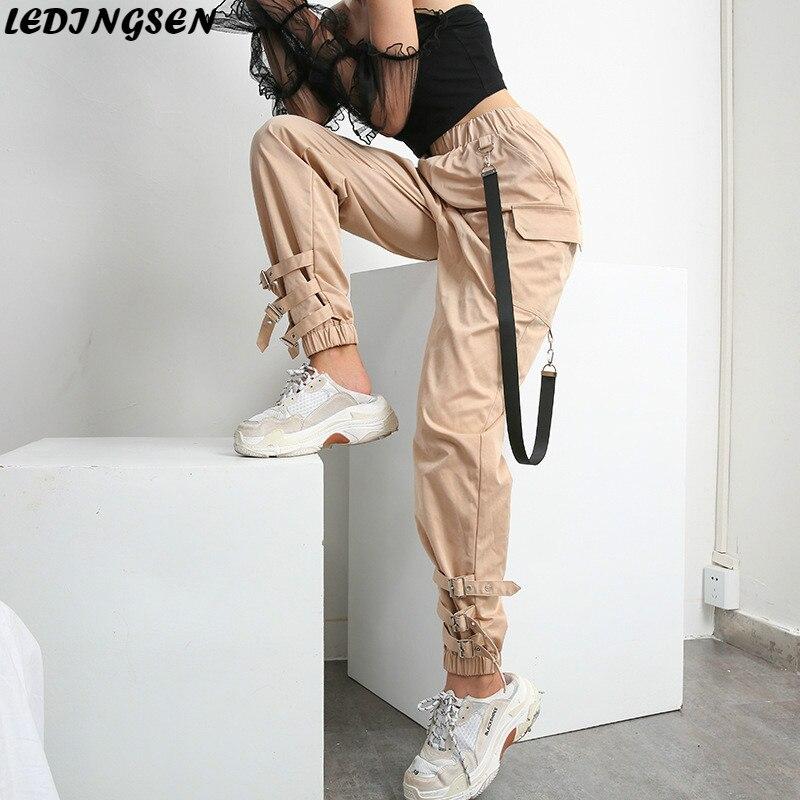 LEDINGSEN pantalon Cargo noir uni femme kaki taille haute pantalon mode Streetwear taille élastique pantalon tactique Sportswear