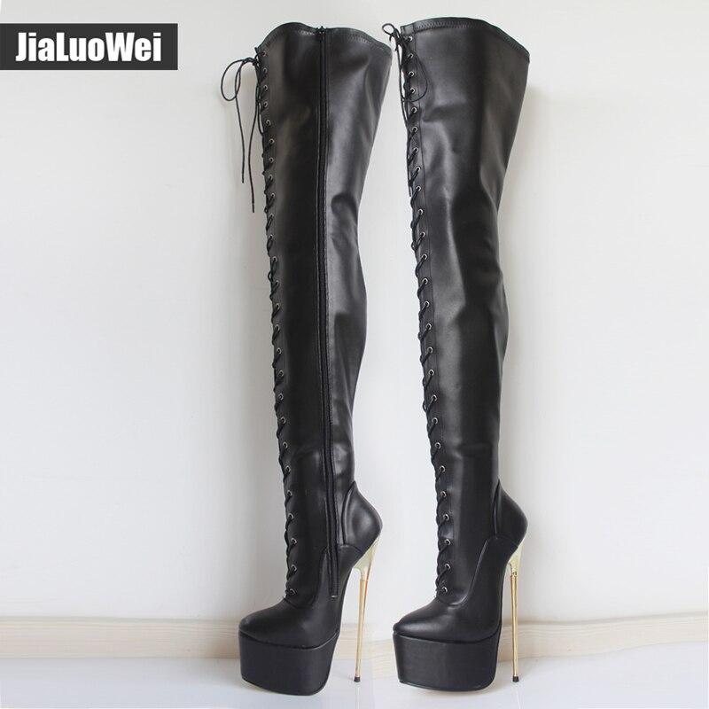 Jialuowei 2018 Novas Mulheres 22 CM Ultra de Salto Alto Plataforma Lace-Up Metal ouro Salto Agulha Apontou Toe Sobre O Joelho Virilha Alta botas