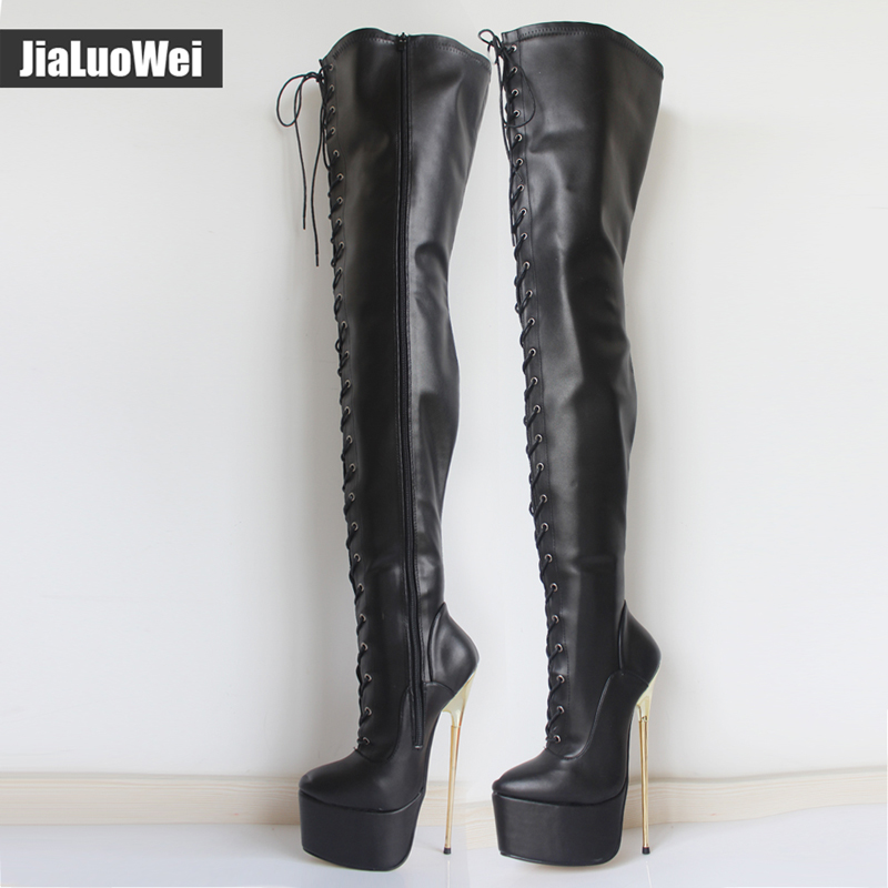 jialuowei 2017 New Women 22CM Ultra High Heel Lace-Up Platform Gold Metal Stiletto Heels Pointed Toe Over Knee Crotch High Boots jialuowei women sexy fashion shoes lace up knee high thin high heel platform thigh high boots pointed stiletto zip leather boots