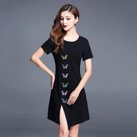 Black Split Buterfly Dress Women Body Aesthetic Dress t Shirt Knitted Princess Gloria Dresses Brazil Summer Dresses C0216G