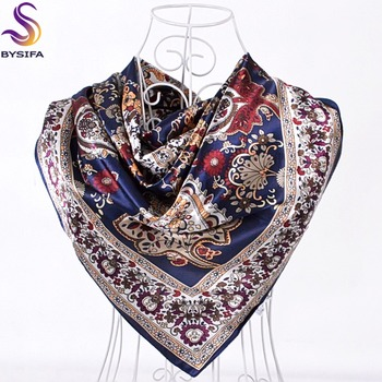 [BYSIFA] Winter Navy Blue Silk Muffler Imitated 2016 New Design Paisley Silk Scarves Wraps 90*90CM Ladies Brand Satin Scarf Cape