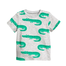 Топы для мальчиков летняя хлопчатобумажная футболка футболки с короткими рукавами и рисунком аллигатора для маленьких детей Детская одежда футболка с рисунком крокодила