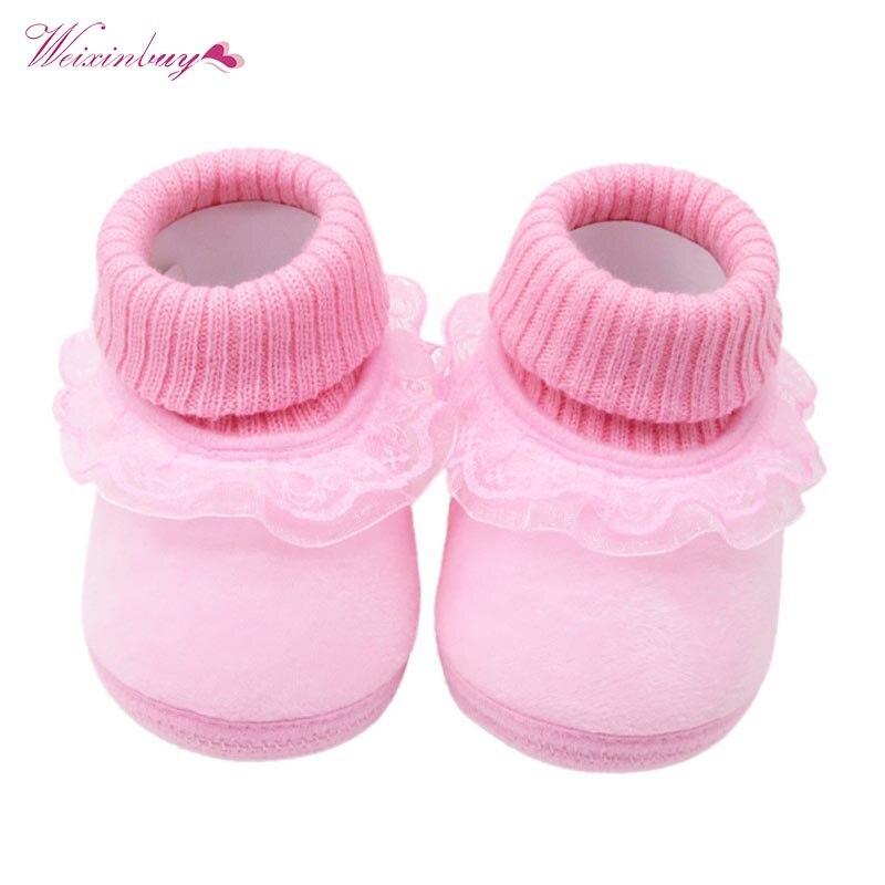 Baby Shoes Snow-Boots Crochet First-Walkers Fleece Infant Girls Boys Winter Warm Knit