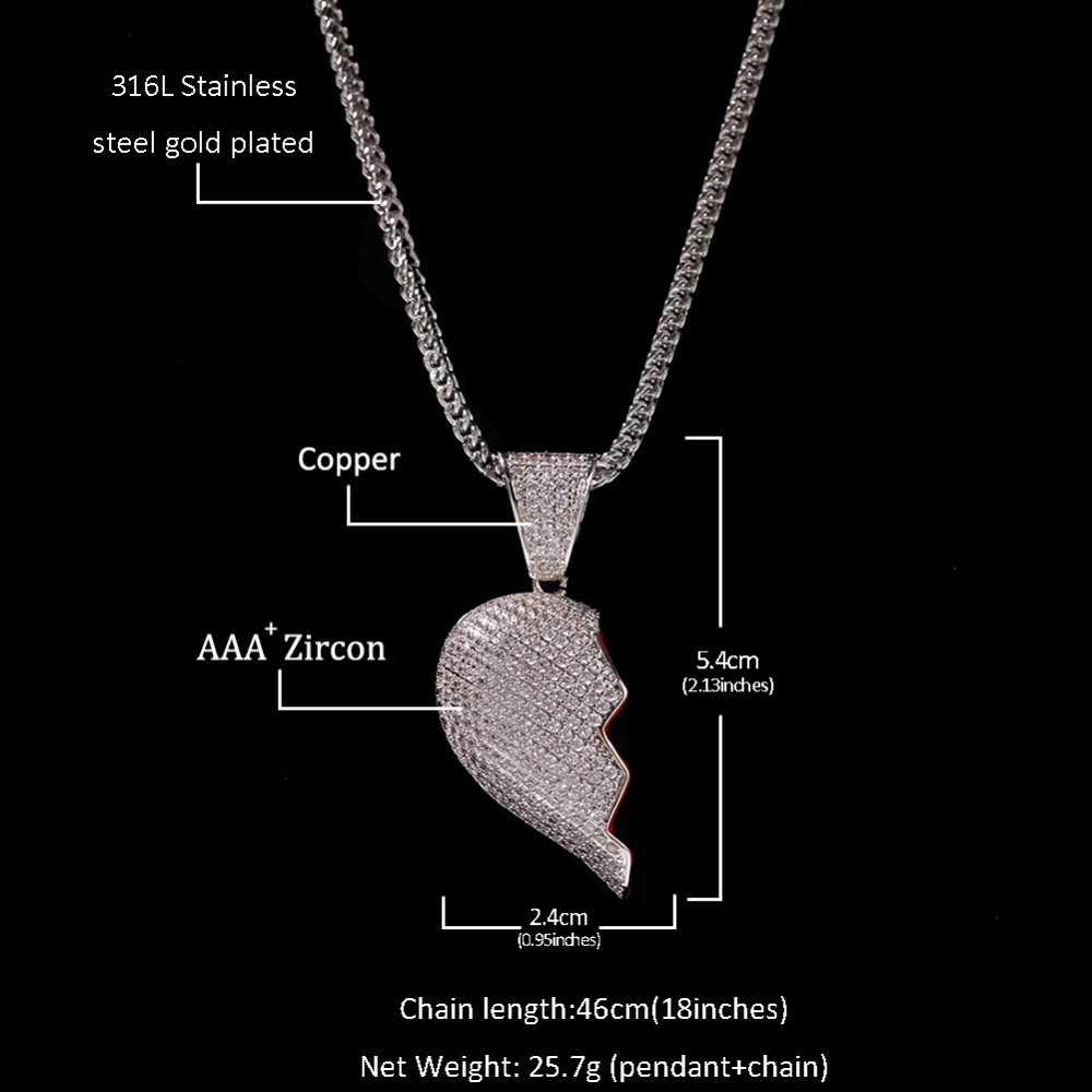 UWIN magnes złamał serce pełne Iced Out cyrkonia wisiorek naszyjnik srebrny złoty kolor moda hip hop prezent dla par biżuteria
