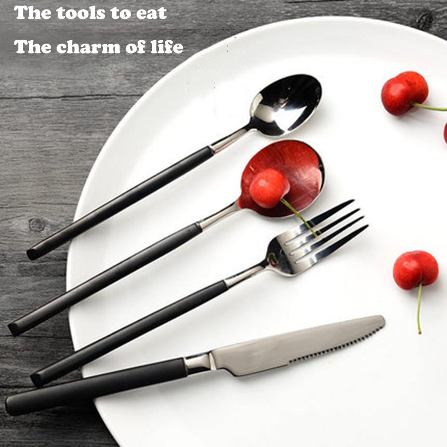Travel Cutlery Set Stainless Steel Knife Fork Luxury Hotel Flatware Faqueiro Dinnerware Set Wood Spoon Chopstick Gold 3DCJS25