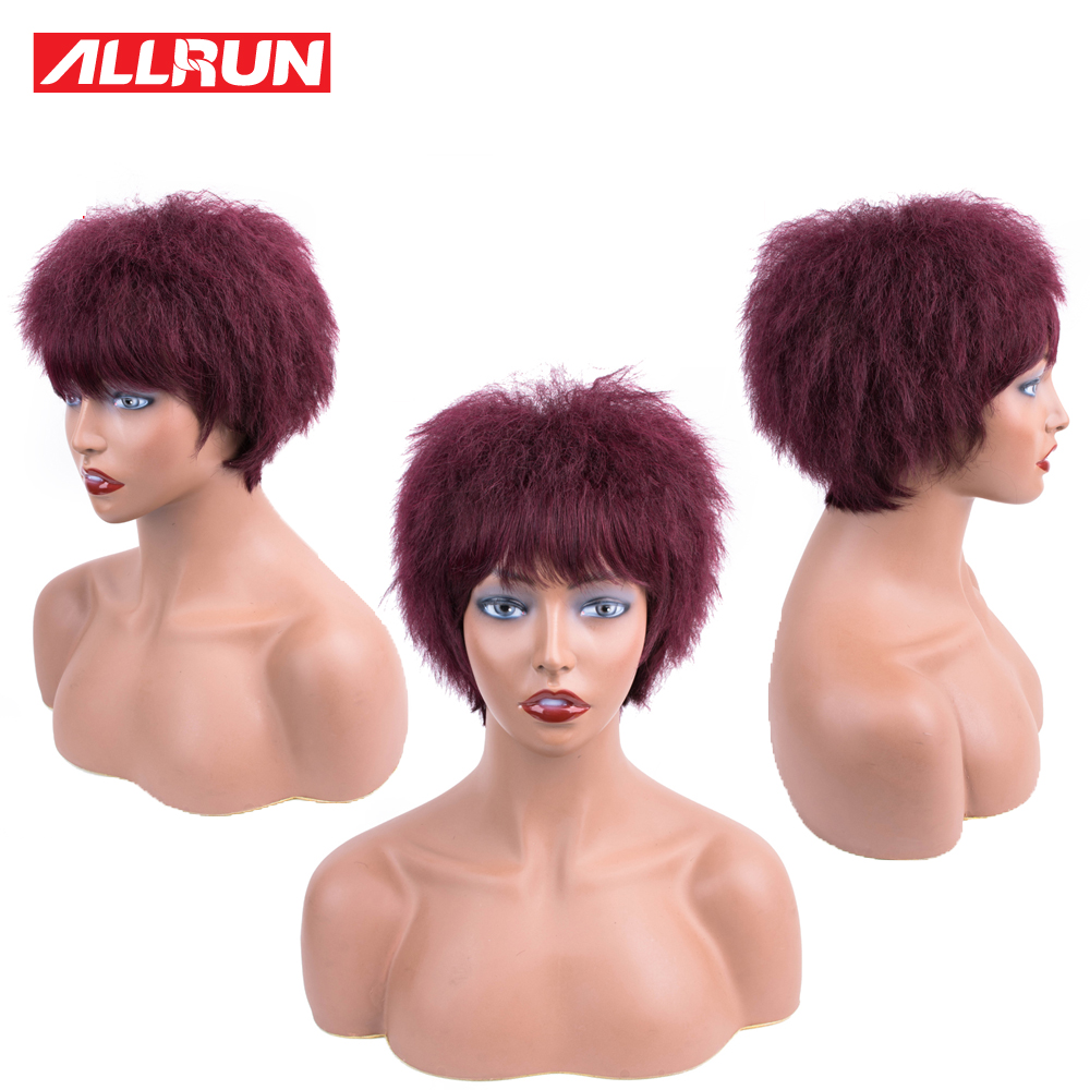 Allrun Short Human Hair Wigs Non Remy 99j Yaki Striaght Full Machine Hair Wig Brazilian Human Hair Short Wig For Black Women