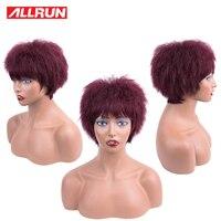 Allrun Short none Lace Front Human Hair Wigs non remy 99j Yaki striaght Full Machine Hair Wig Brazilian Human Hair Short Wig
