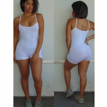 Casual Summer Bodycon Rompers Womens Jumpsuit 2019 Summer Playsuit Sexy Slim Body Skinny Rompers Shorts Spaghetti Strap Leotard 8