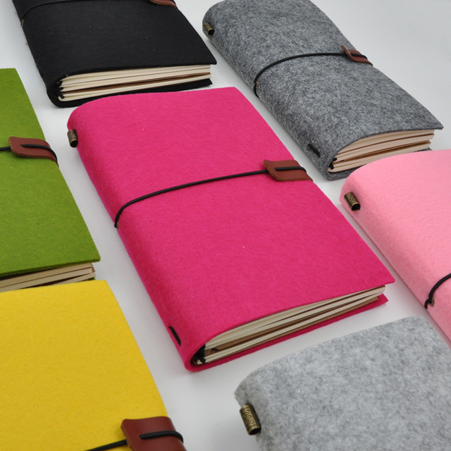 Maotu diario de bala de tela de fieltro Vintage, agenda para viajeros, planificador de bocetos, regalo creativo hecho a mano
