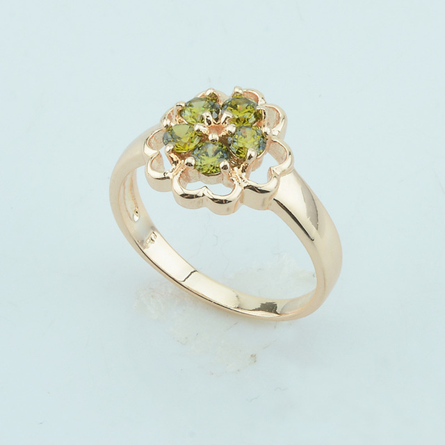 fj 7mm women green stone cubic zircon 585 rose gold color rings flowers shaped wedding rings - Rose Shaped Wedding Ring