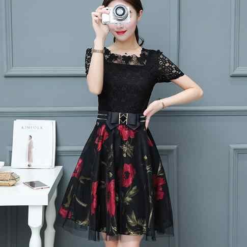 300decbadb Clobee 2019 Lace A Line Print Flower Women Dress Elegant Sashes Korean  Style Ladies Dresses Work Party Femme Vestidos Z523