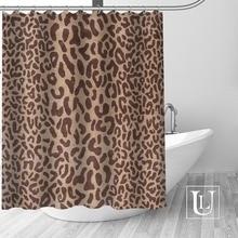 큰 판매 새로운 사용자 정의 표범 현대 샤워 커튼 후크 욕실 방수 폴리 에스터 직물