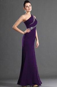 Image 3 - Roxo vestidos de noite sereia de um ombro chiffon frisado plus size longo vestido de noite vestidos de baile robe de soiree
