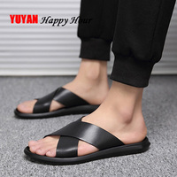 Black Slippers Men Shoes 2019 Fashion Beach Slippers Flat Leather Shoes Men Summer Slippers Male Brand KA1150