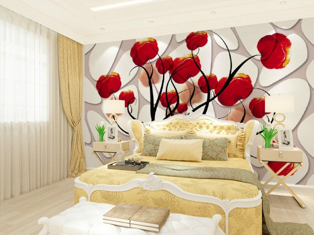 Red Flower Wallpaper Living Room Living Room
